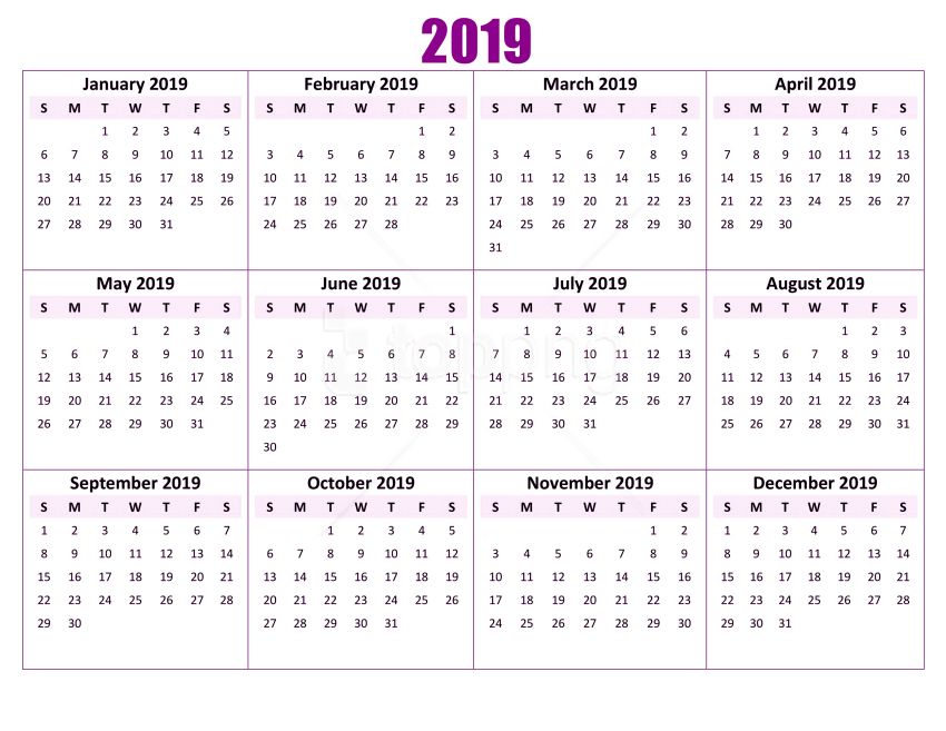 Download 2019 calendar png wallpaper png images background TOPpng 850x657