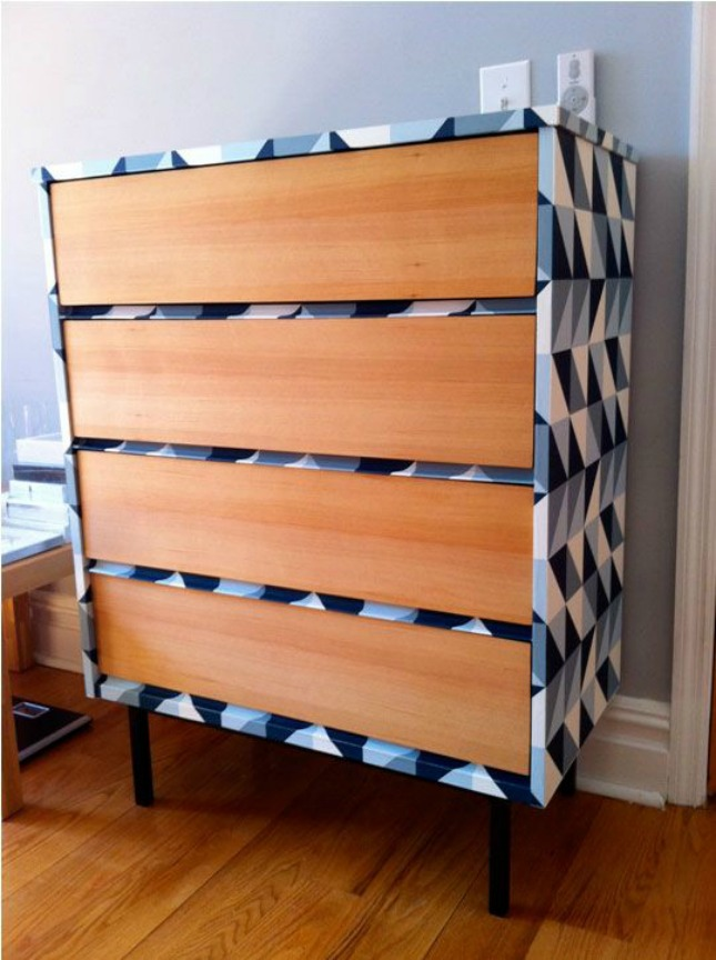how to use wall paper on a chest of drawers