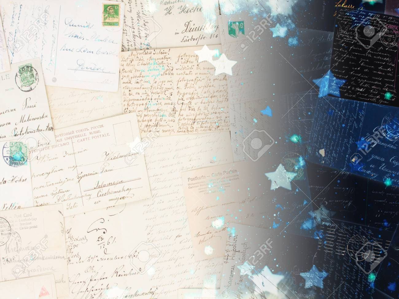 Old Postcards With Stary Night Background Dreaming And Memories 1300x975