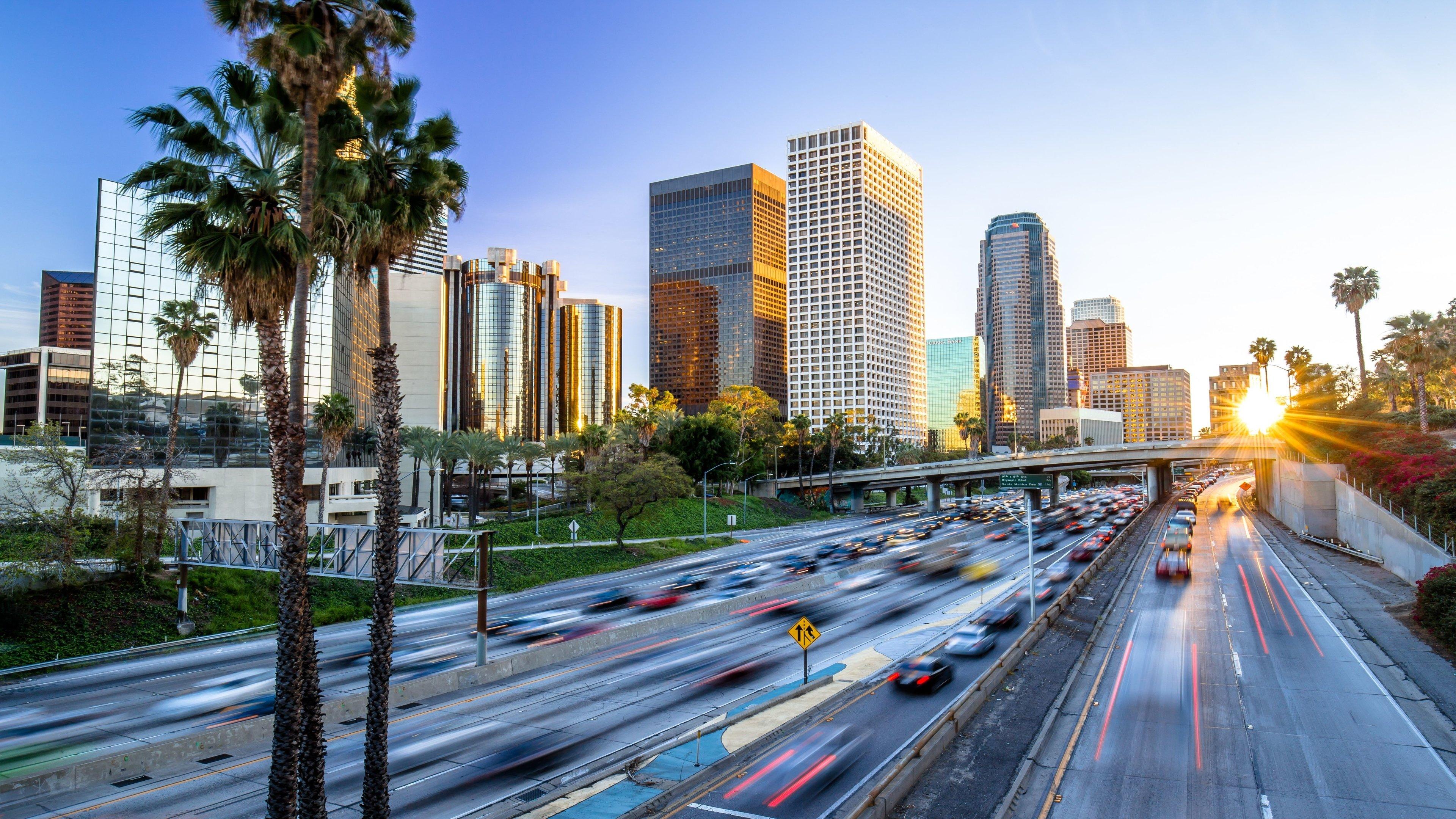 Los Angeles Downtown Buildings Skyline Highway Traffic Premium 4K 3840x2160