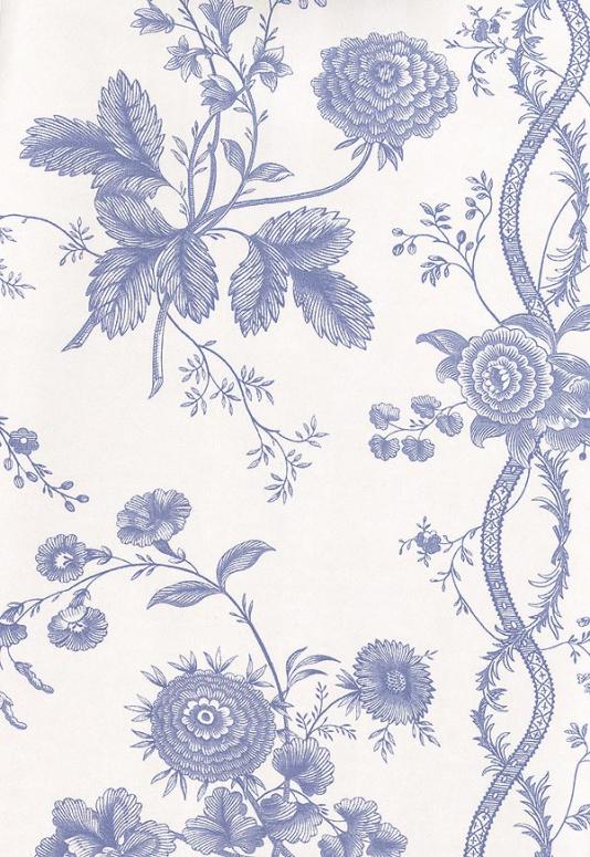 Floral Stripe Wallpaper Blue floral design wallpaper printed on white 534x775
