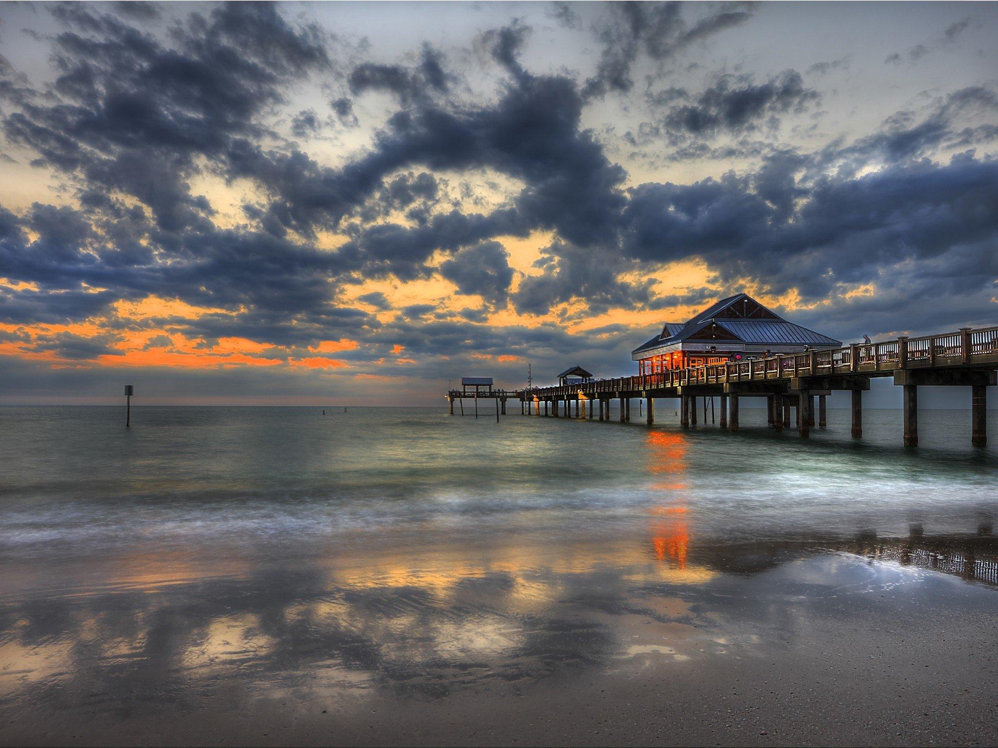 Sunset Pier Clearwater Florida Wallpaper HD Sunset 2048x1536