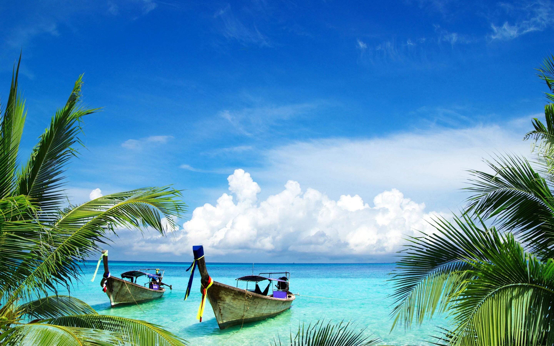 Wallpaper tropics sea beach boats thailand palm trees 2880x1800