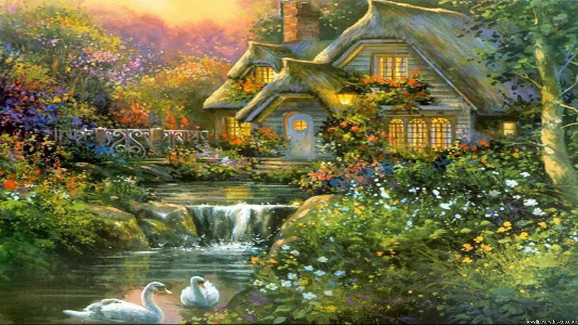 Wallpaper Paintings Art HD Desktop Thomas Kinkade Painting 23 1920x1080