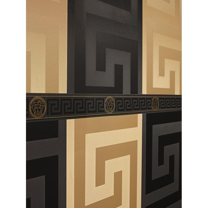 Home Versace Home Greek Key Black and Gold Luxury Wallpaper Border 800x800