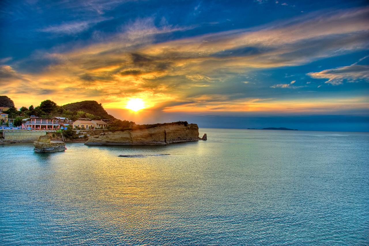 Wallpaper Greece Corfu island Sea Nature Sky sunrise and sunset 1280x853