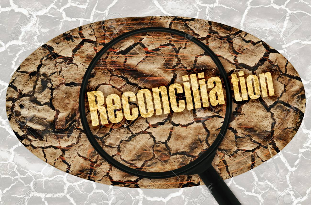 Word Reconciliation Under A Magnifier On Abstract Background Stock 1300x860