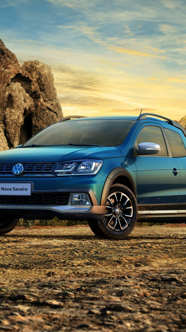 Wallpaper Volkswagen Saveiro Cross CD pickup blue Cars Bikes 640x1138