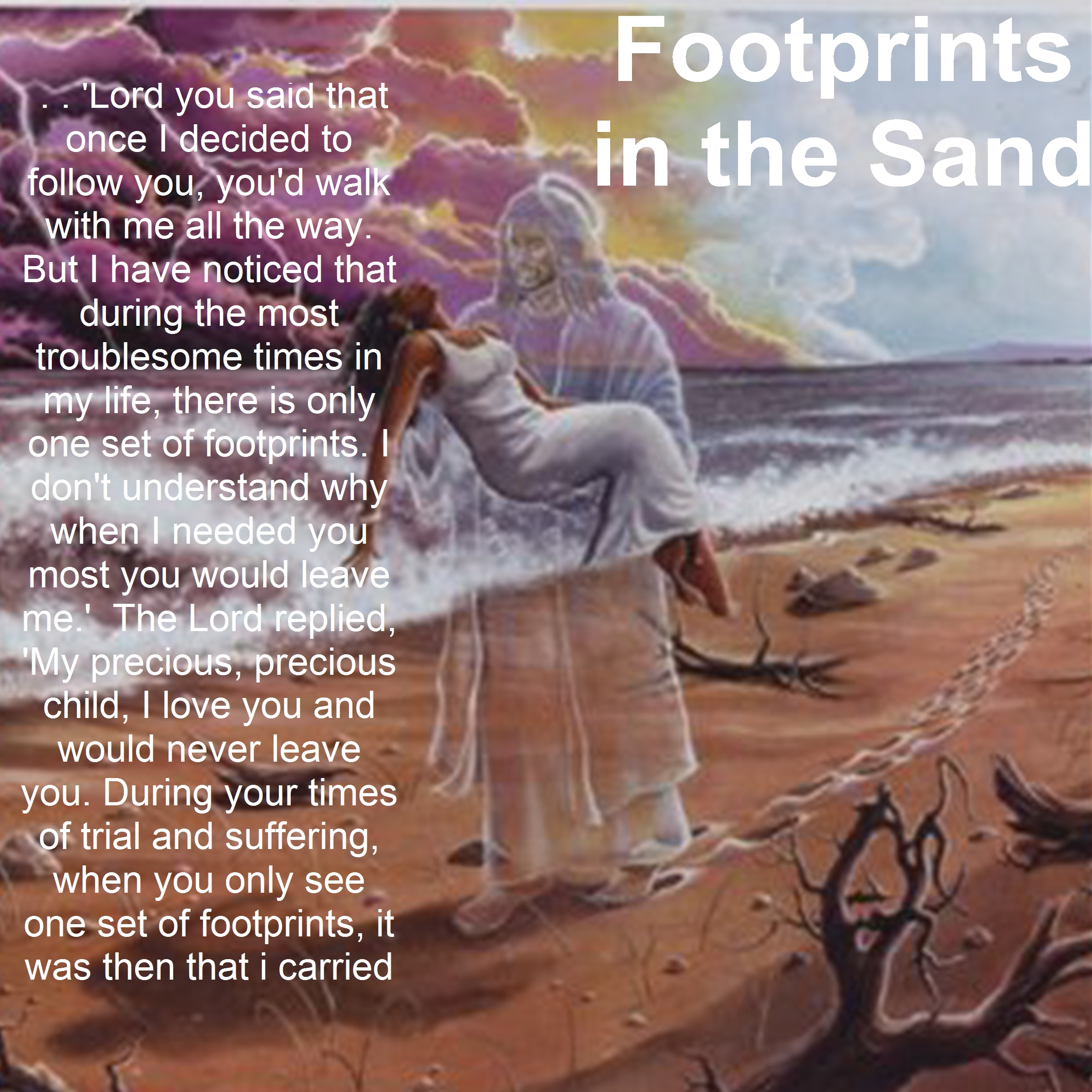 Footprints In The Sand Poem Background Footprints in the sand 2400x2400