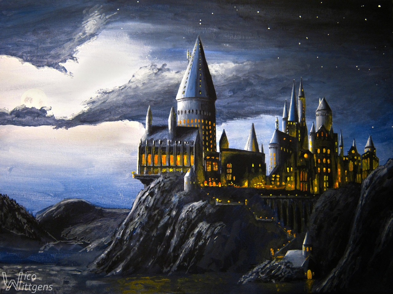 Hogwarts Castle Wallpaper Hogwarts at night by nicow92 1280x960