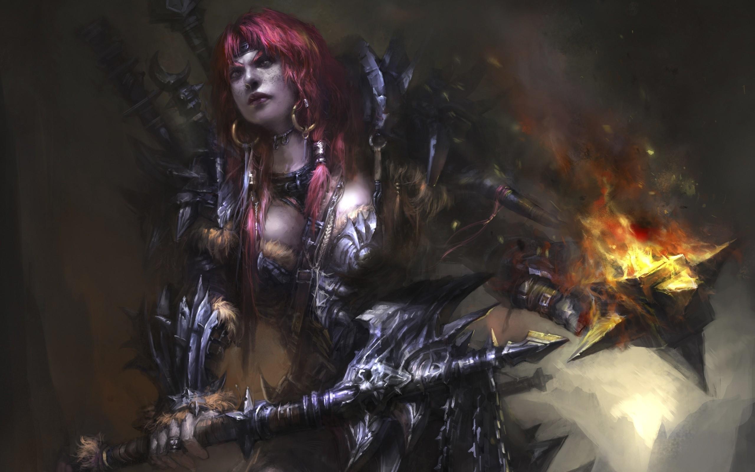 games redheads fantasy art armor barbarian artwork HD Wallpapers 2560x1600