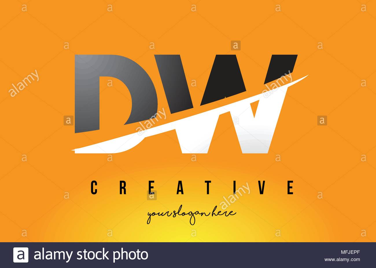 DW D W Letter Modern Logo Design with Swoosh Cutting the Middle 1300x925