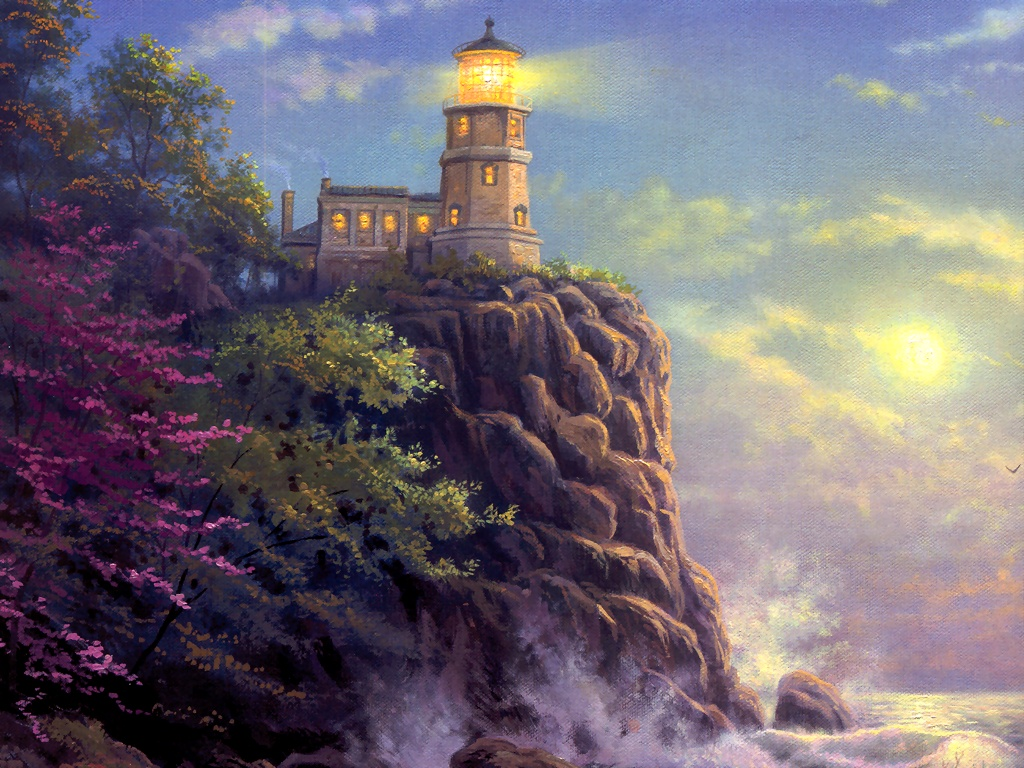 Lighthouse By Thomas Kinkade Wallpaper ForWallpapercom 1024x768