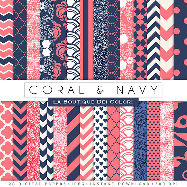 Backgrounds General Backgrounds Coral and Navy Digital Papers 600x600