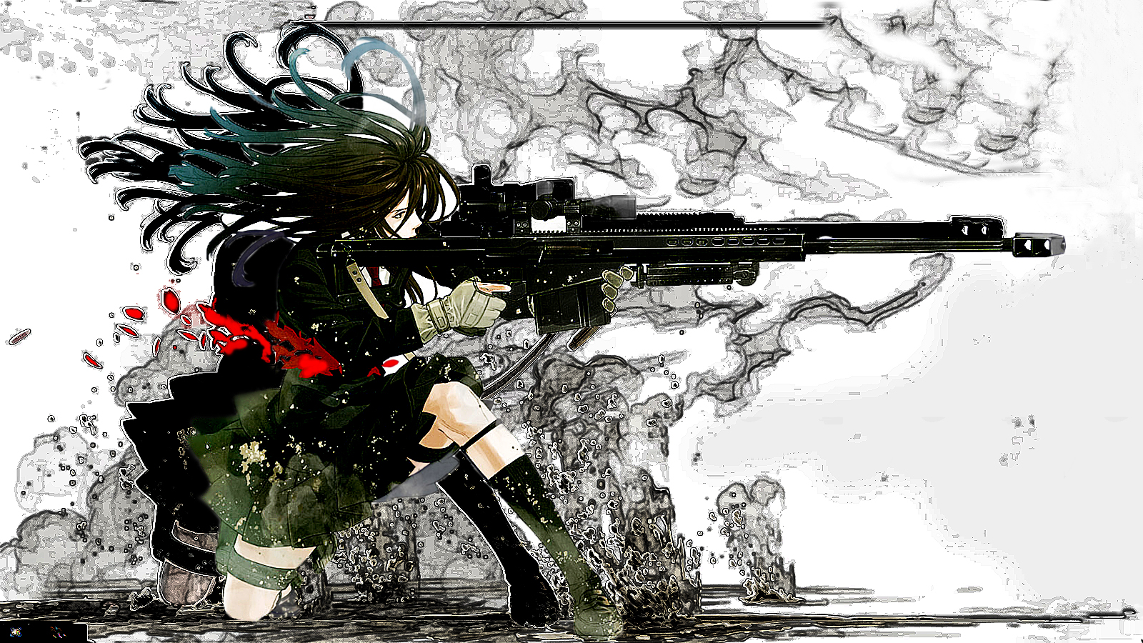 girl shooting gun whats her name manga anime HD Wallpaper of Anime 1600x900