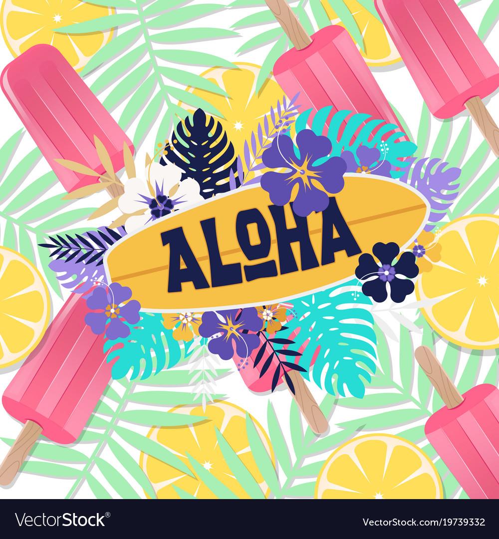 Aloha ice cream jungle lemon background ima Vector Image 1000x1080