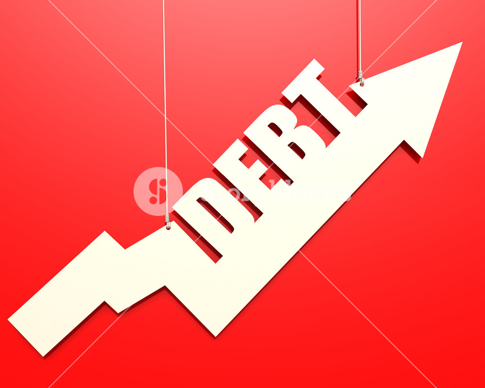 White arrow with debt word hang on red background image with hi 1000x800