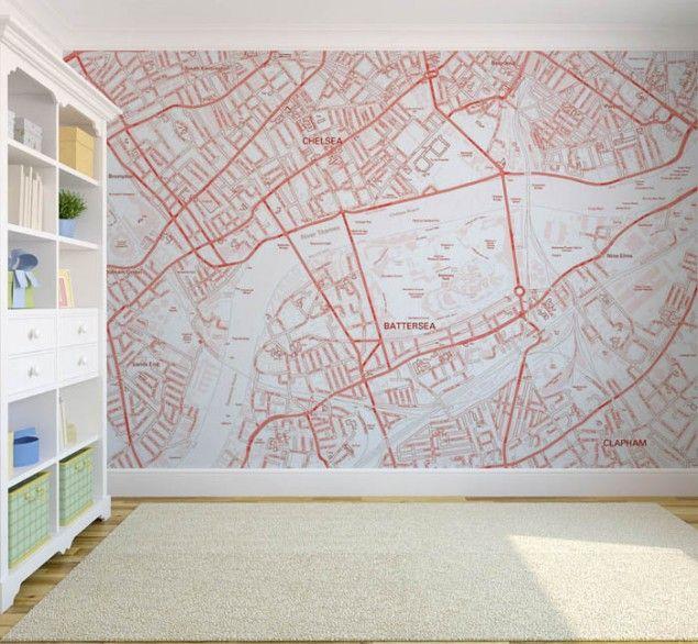 Custom Postcode Map Wallpaper Walls Pinterest 635x586