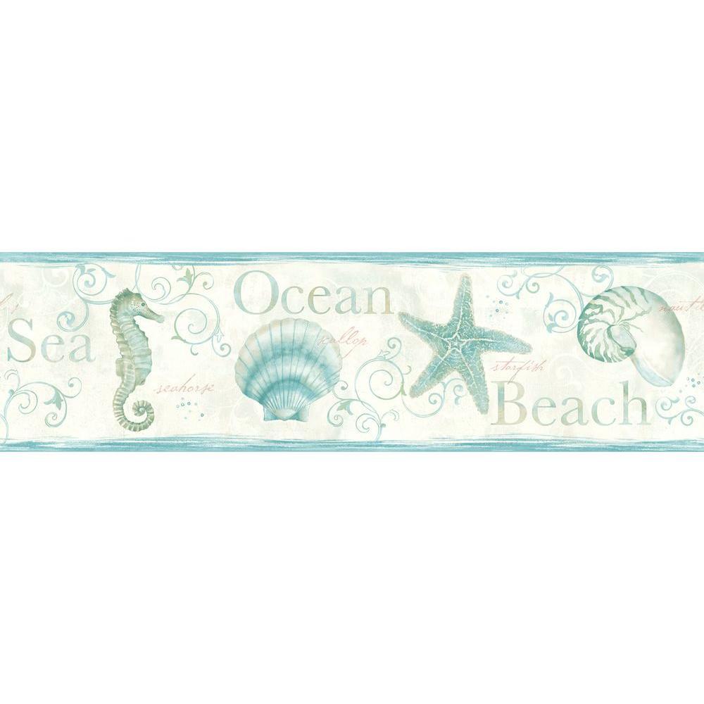 Chesapeake Island Bay Teal Seashells Wallpaper Border Sample 1000x1000