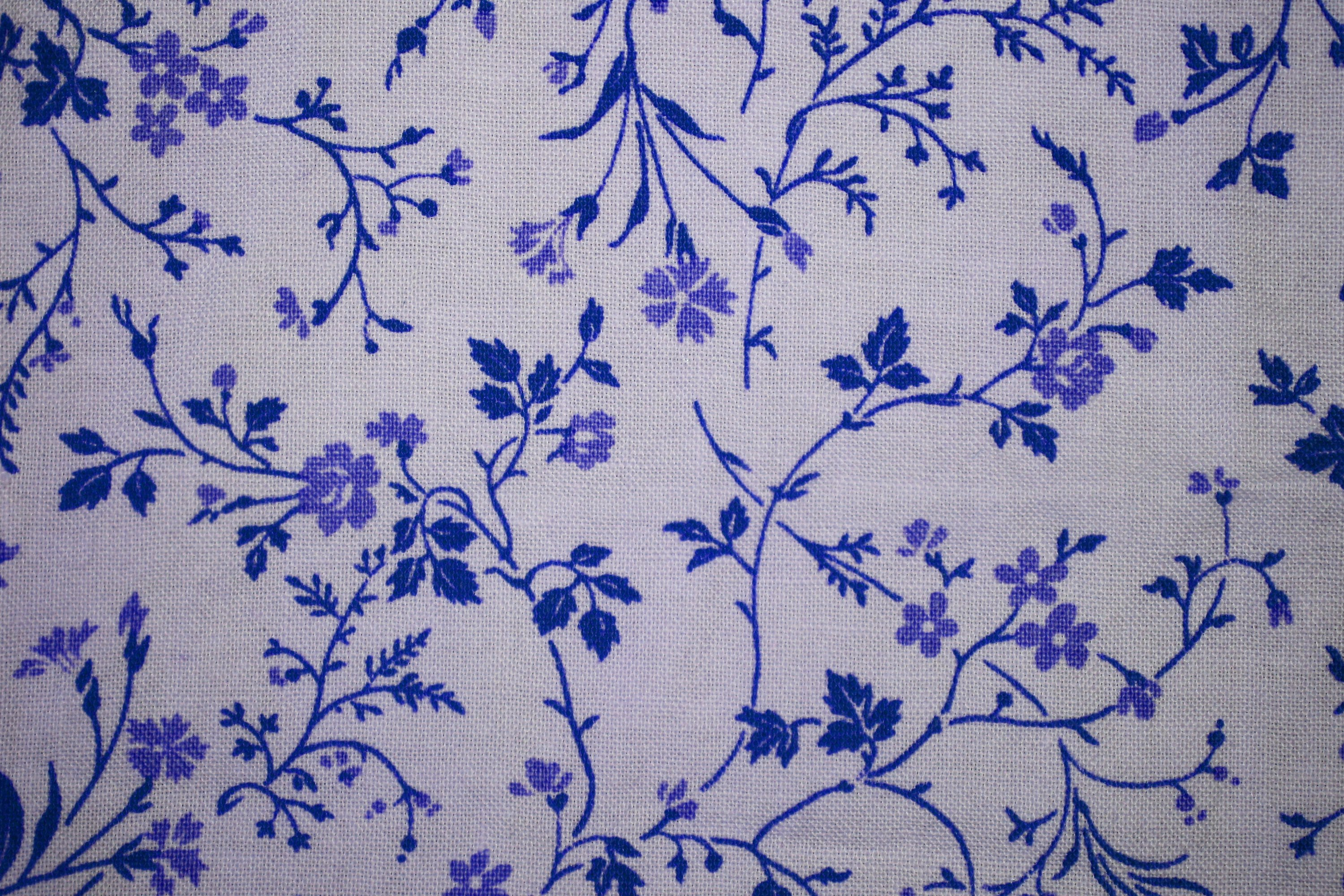 Blue on White Floral Print Fabric Texture   High Resolution Photo 3000x2000