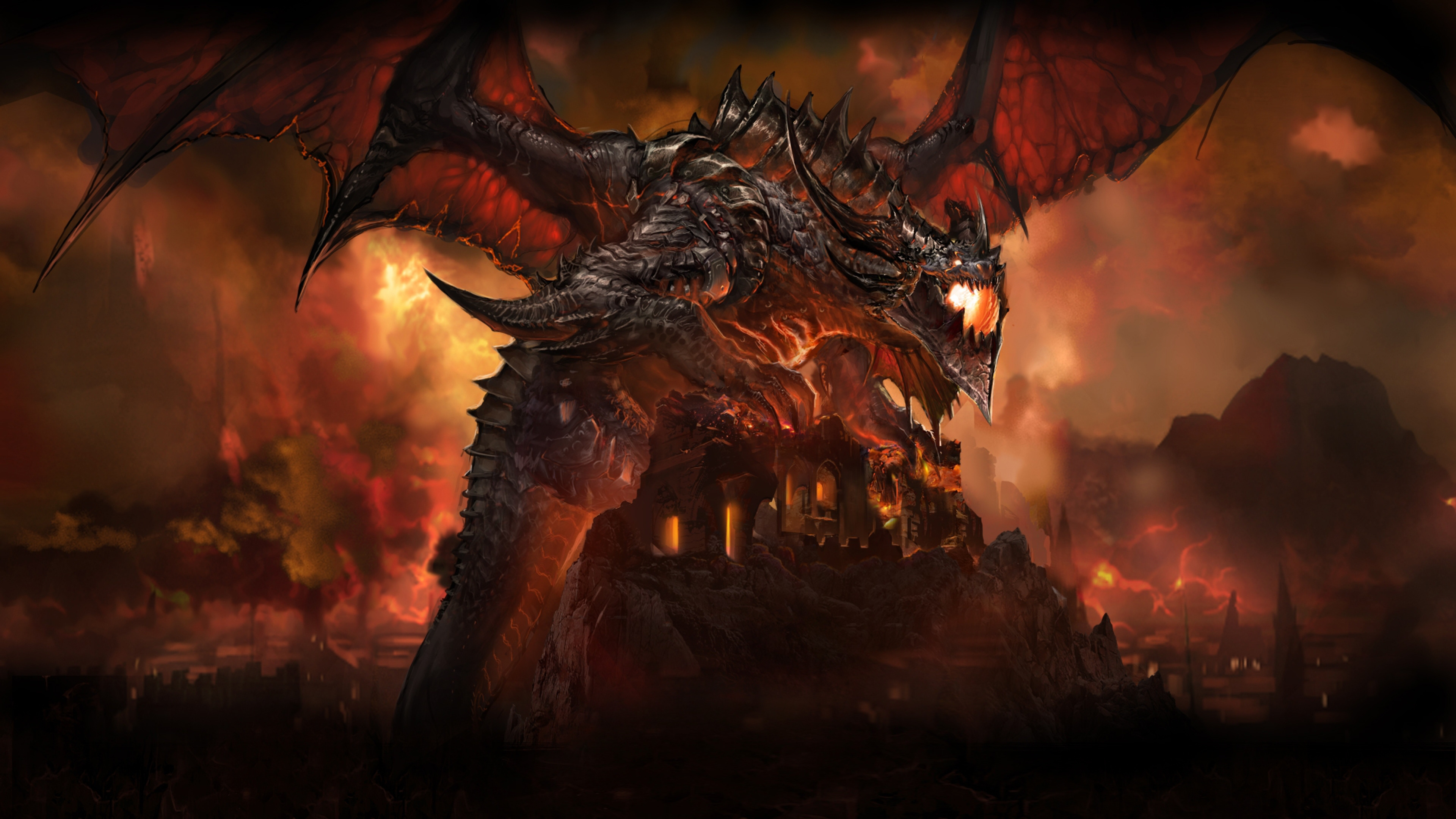 3840x2160 Wallpaper world of warcraft dragon wings tail wildfire 3840x2160