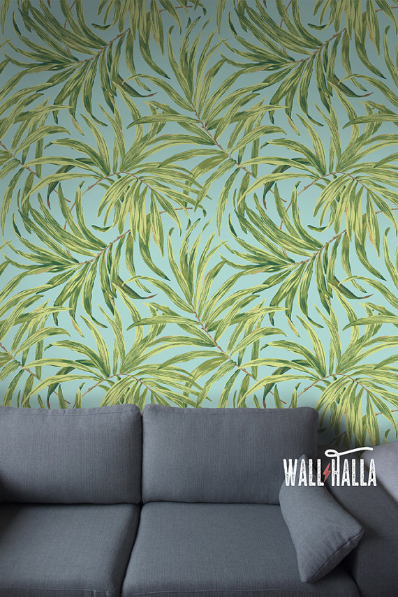 Palm Leaves Pattern Wallpaper   Removable Vintage Wall Decals   Palm 570x855