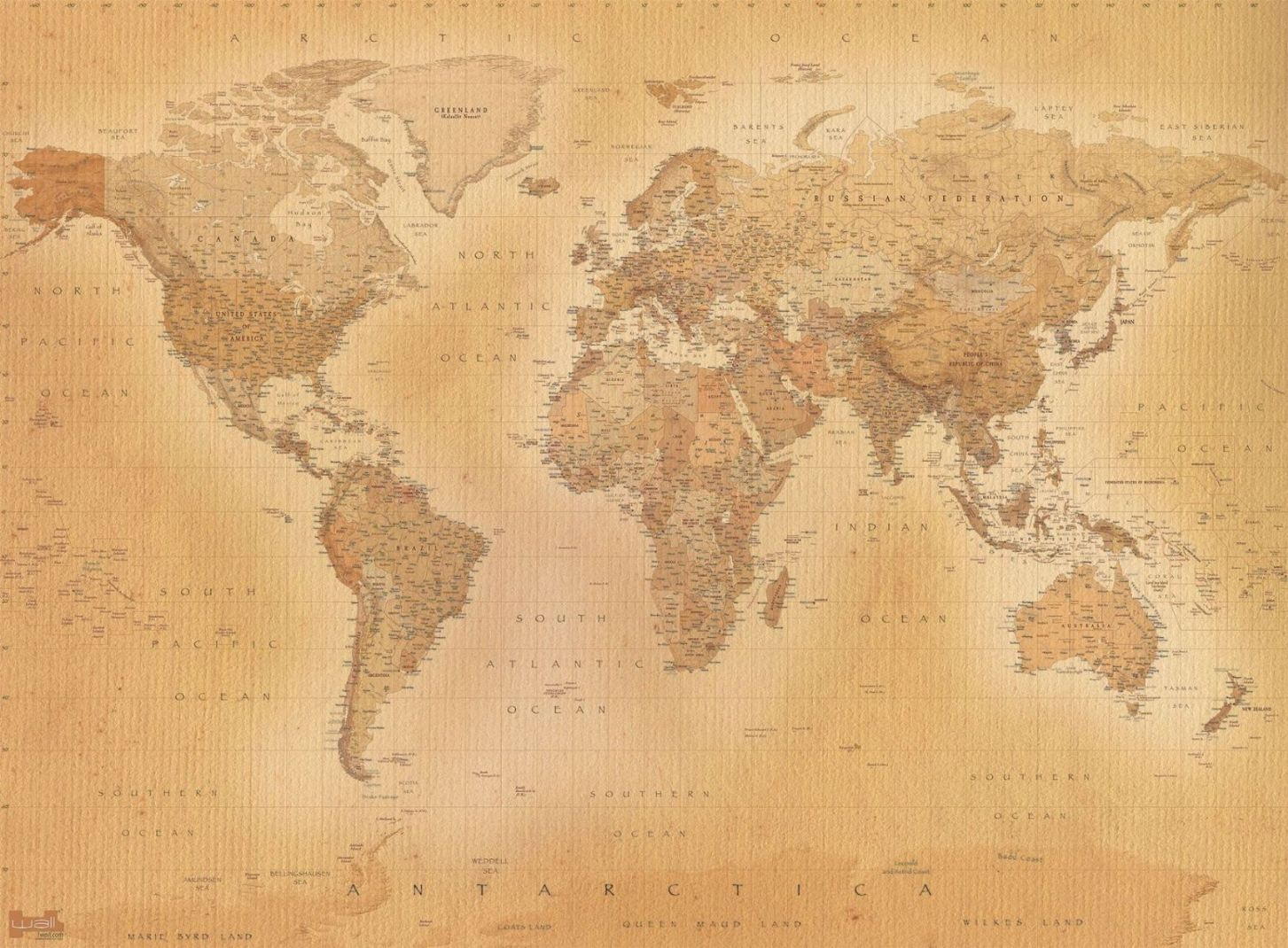 Wall mural wallpaper 315x232cm Old style Map of the World home walls 1453x1070