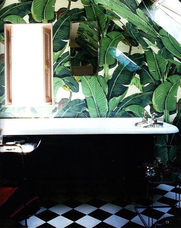 Banana leaf wall paper bathroom decor For the Home Pinterest 600x754