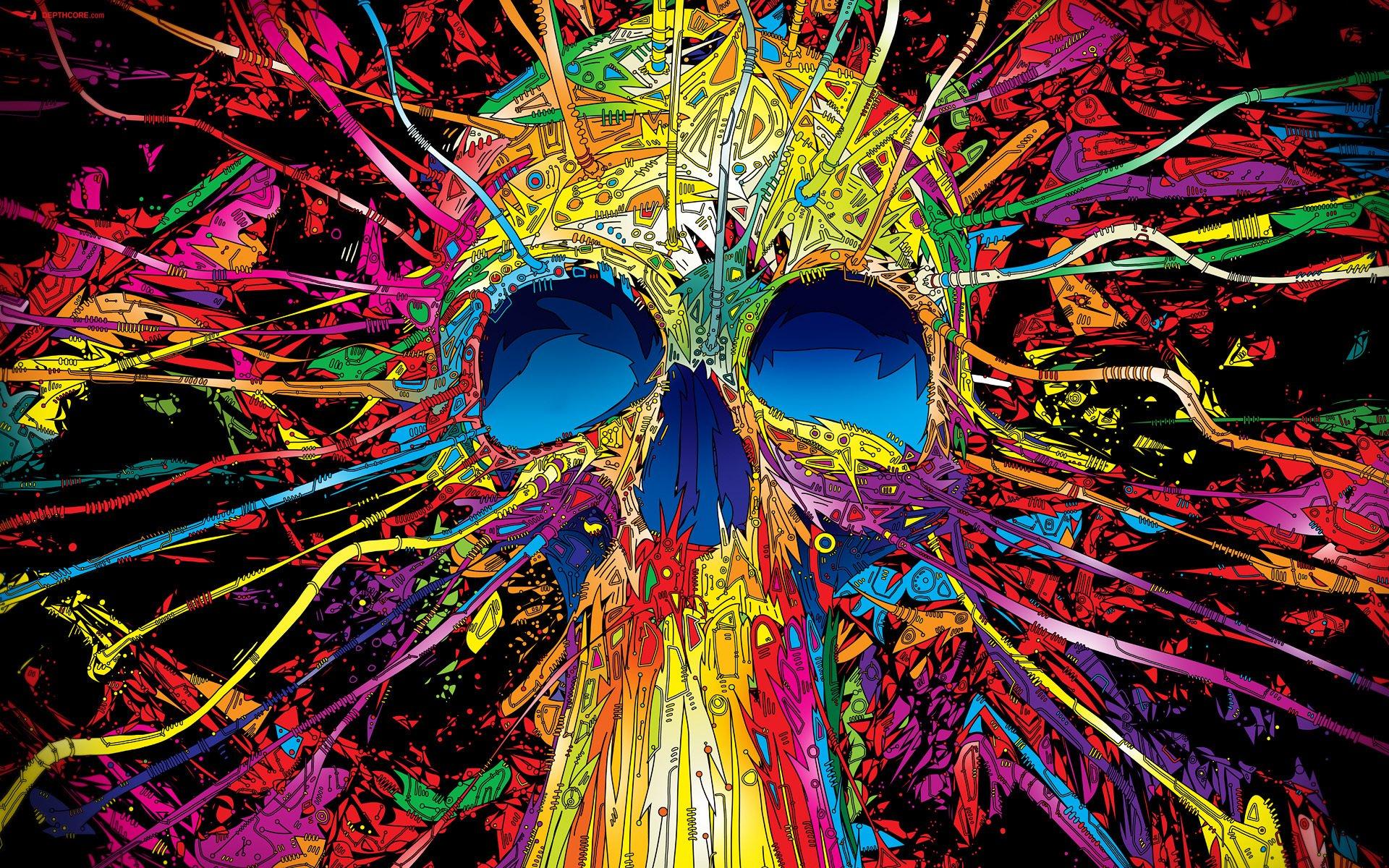 psychedelic skull hd backgrounds hd wallpaper background desktop 1920x1200