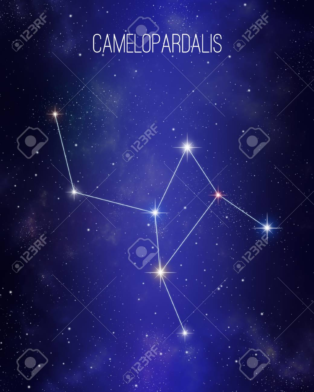 Camelopardalis The Giraffe Constellation On A Starry Space 1040x1300