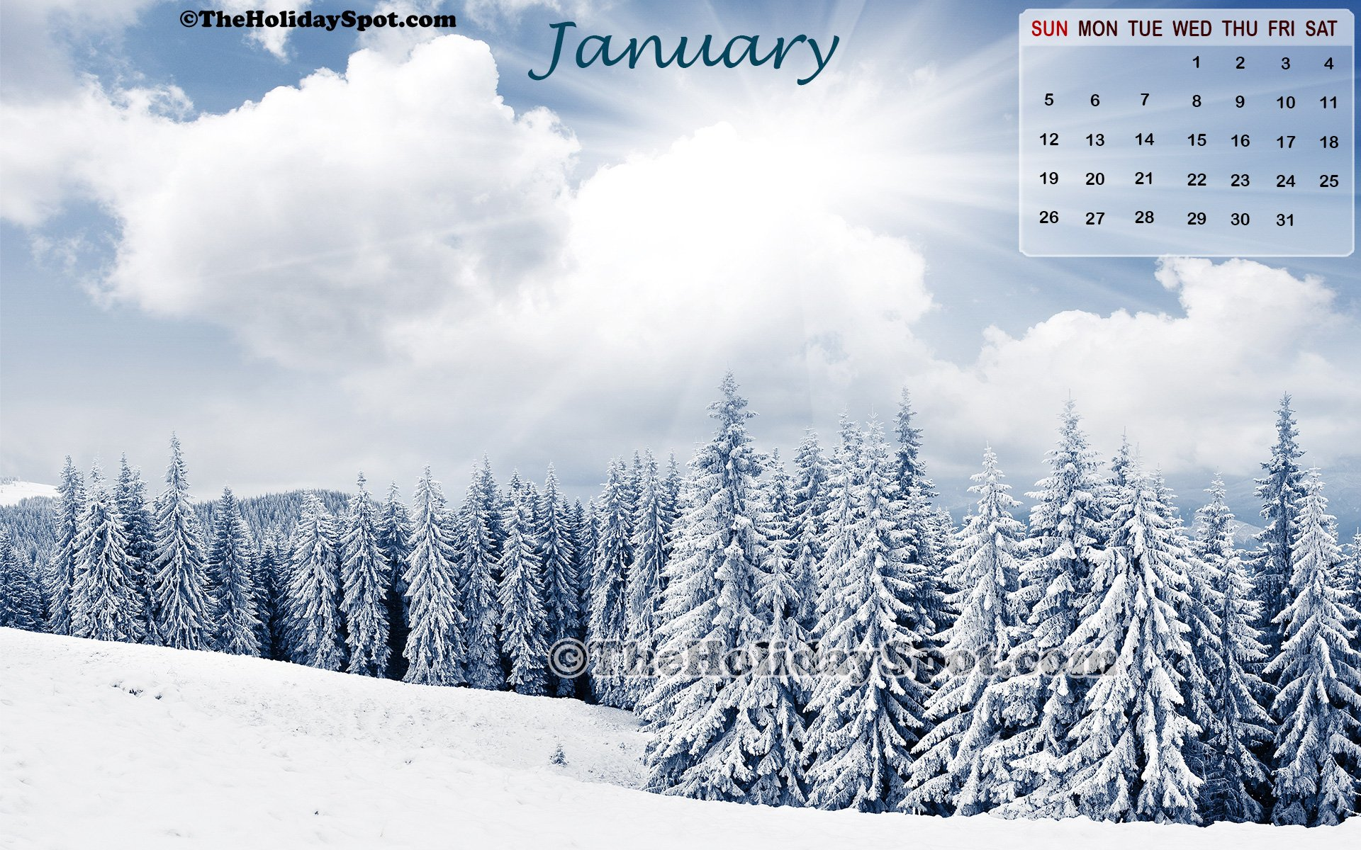 high definition snow clad winter calendar wallpaper for January 2014 1920x1200