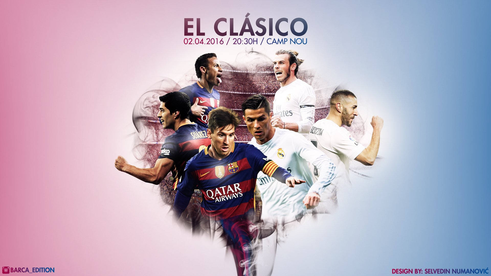 FC Barcelona   Real Madrid CF 2016   HD WALLPAPER by SelvedinFCB 1920x1080