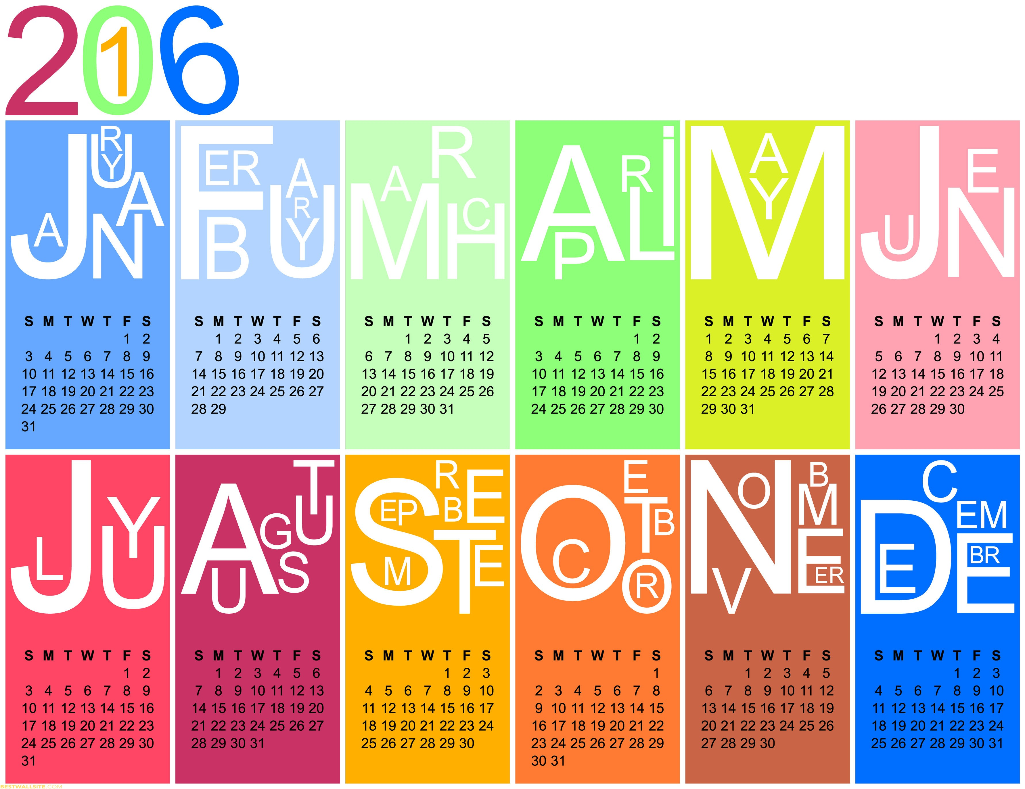 2016 Wall Calendar Colour FULL HD BestWallSitecom 3565x2745