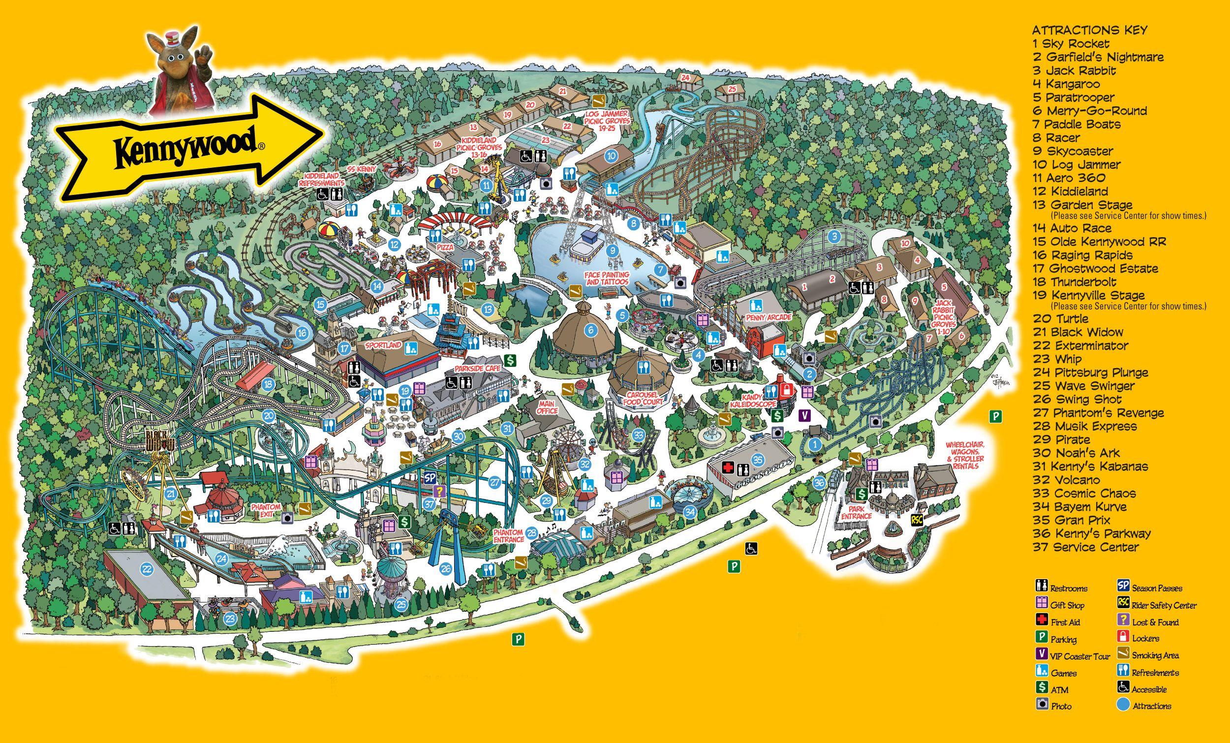 Park Map Kennywood Amusement Park Theme park map Amusement 2500x1510