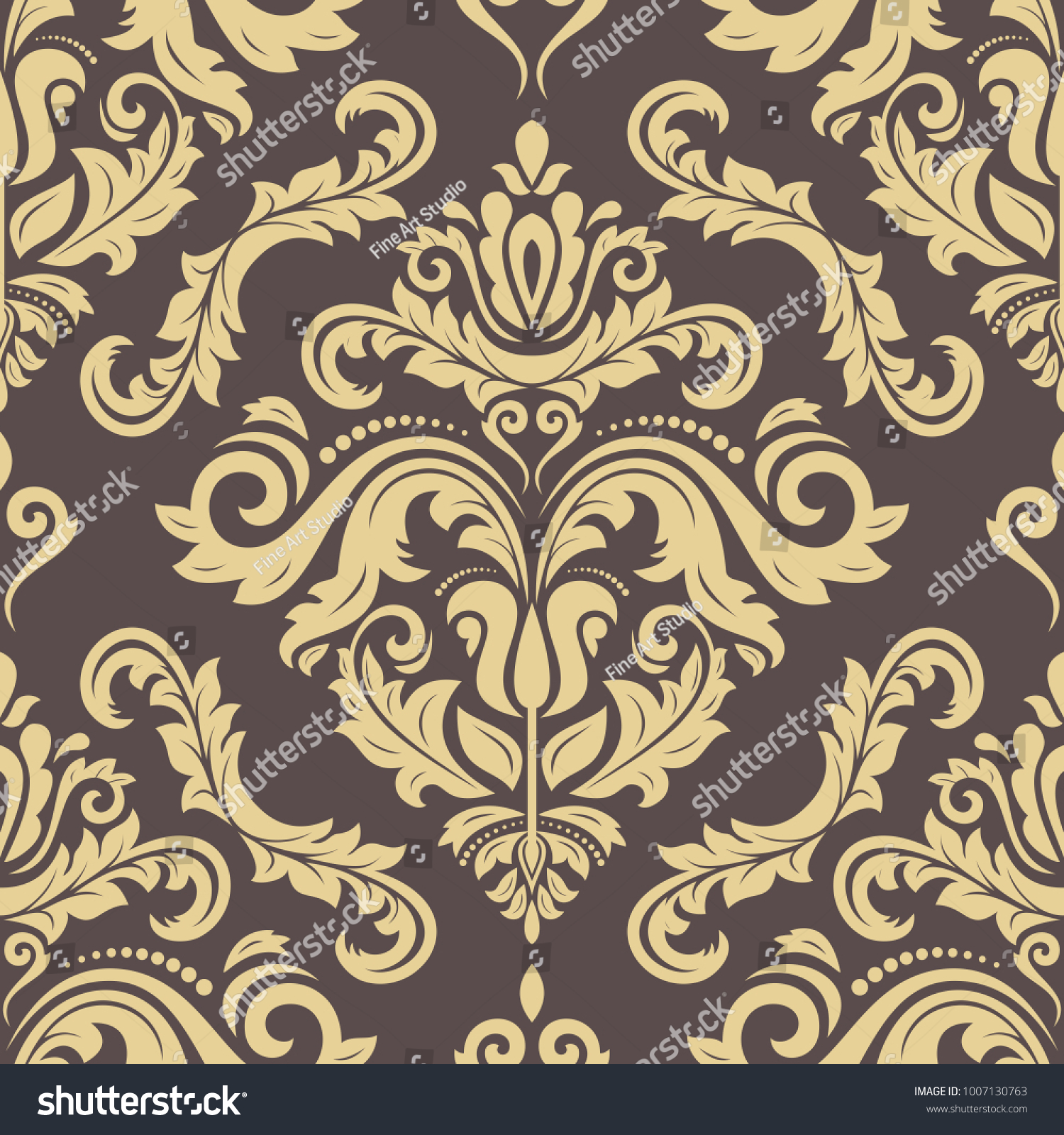 Classic Seamless Vector Brown Golden Pattern Stock Vector Royalty 1500x1600