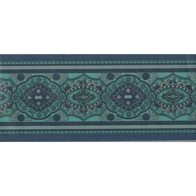 Traditional Paisley Theme Navy Green Wallpaper Border by Storeys 800x800