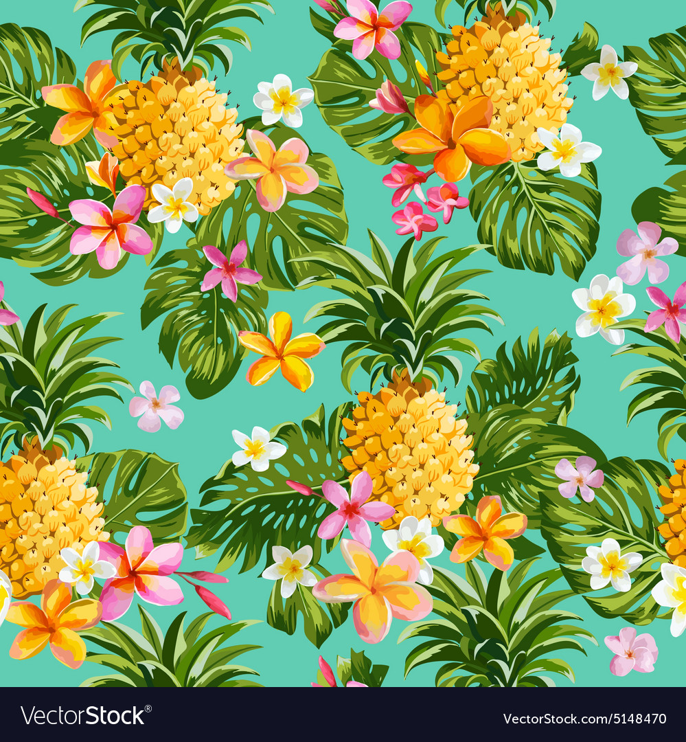 Pinapples and Tropical Flowers Background Vector Image 999x1080