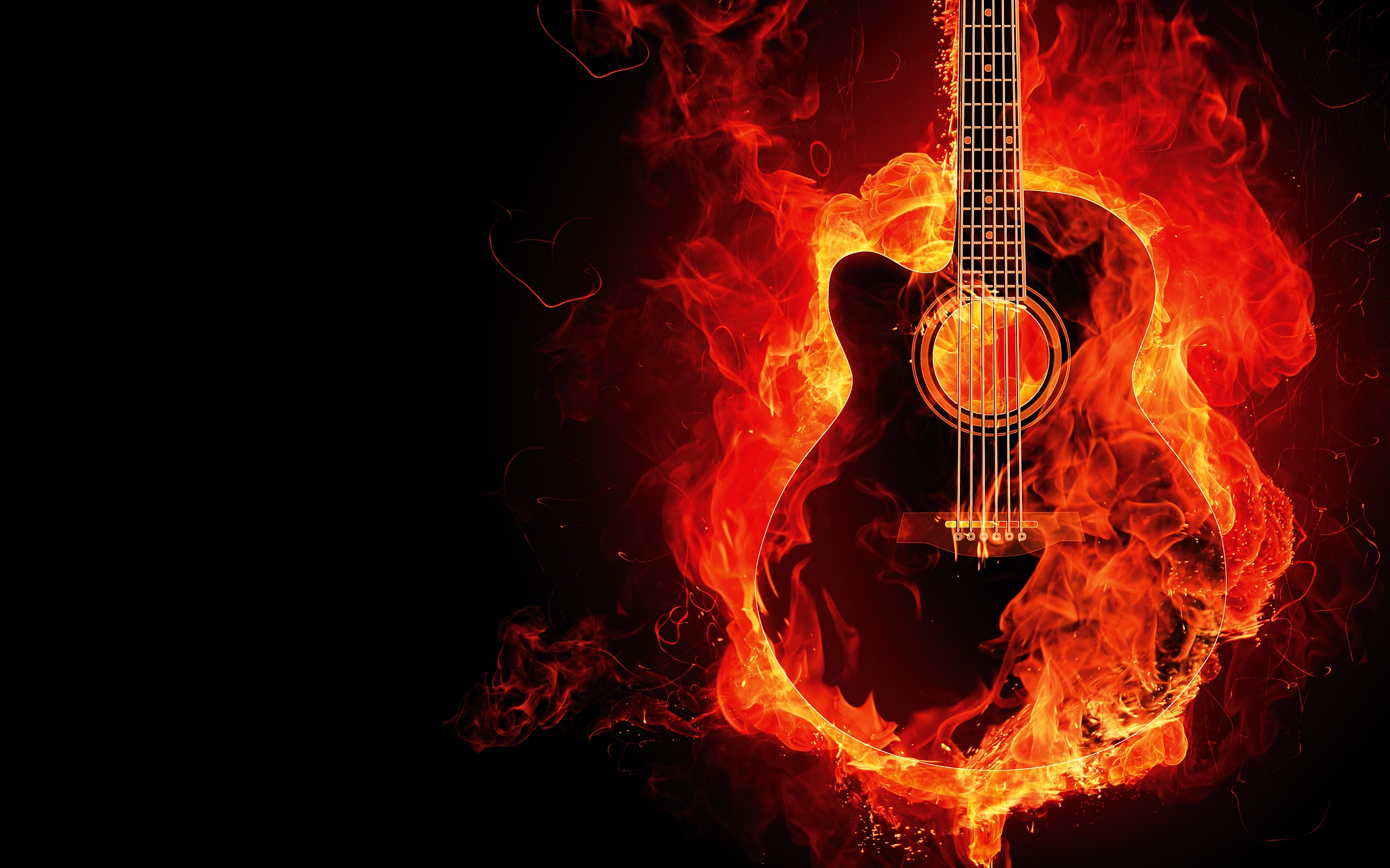 Awesome Guitar Fire Wallpaper HD 2818 Wallpaper with 2560x1600 2560x1600