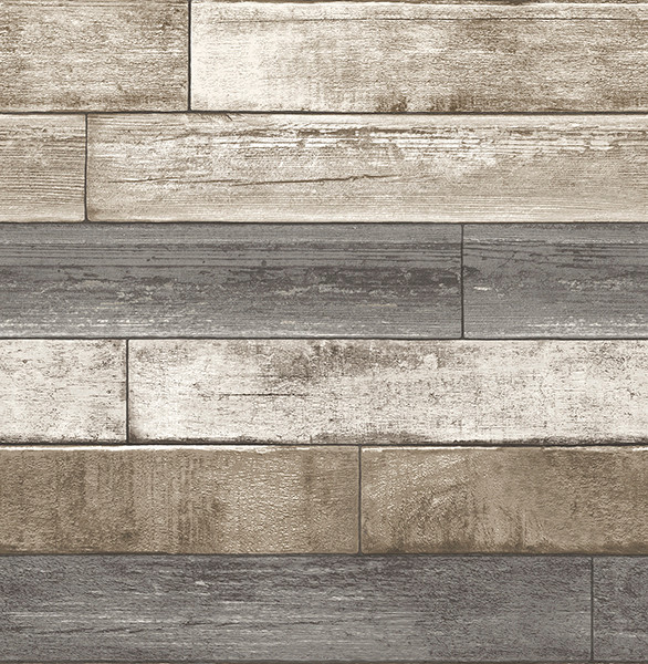 Weathered Wood Plank Wallpaper GrayTaupeWhite Sample modern wall 586x600