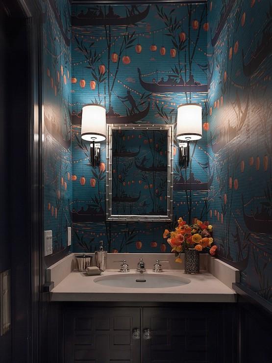 Wallpaper for Powder Rooms Asian bathroom Ann Lowengart Interiors 555x740
