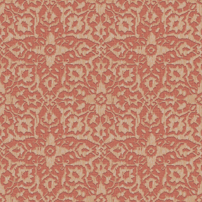 Grandeco Boho Chic Orange Ikat Flower on Red Wallpaper 10m Roll 1500x1500