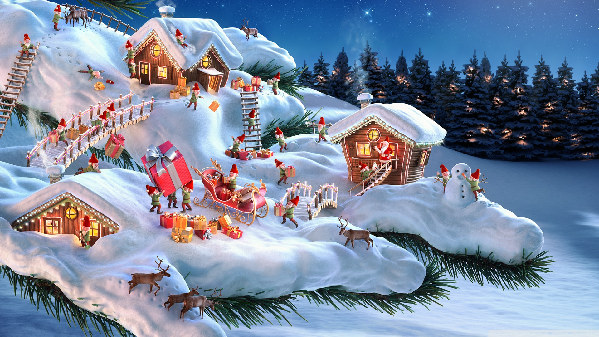 Santa and his Elves 4K HD Desktop Wallpaper for 4K Ultra HD TV 1920x1080