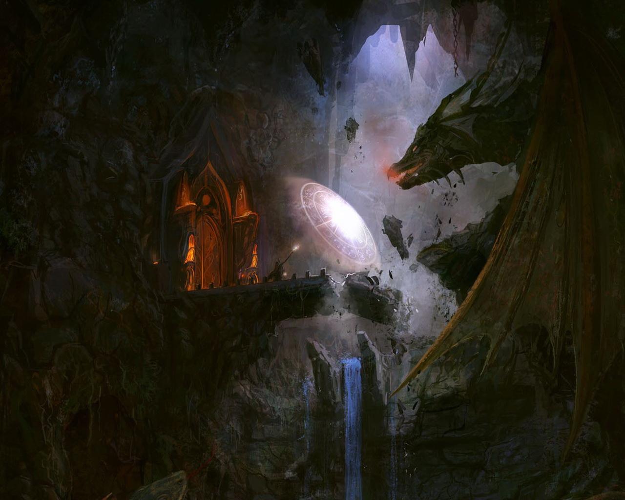 dragon wizard battle art desktop 1280x1024 free wallpaper 33728 1280x1024