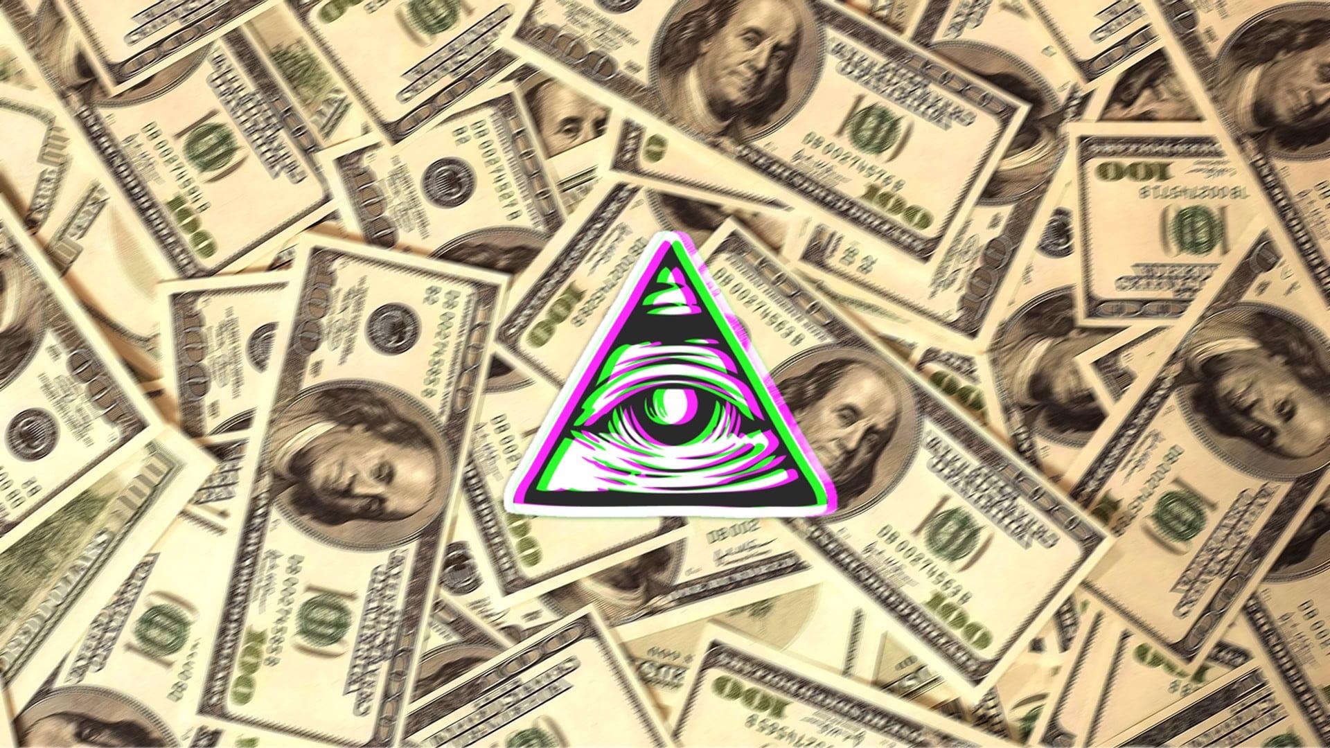 Eye of providence Illuminati eyes dollars digital art HD 1920x1080