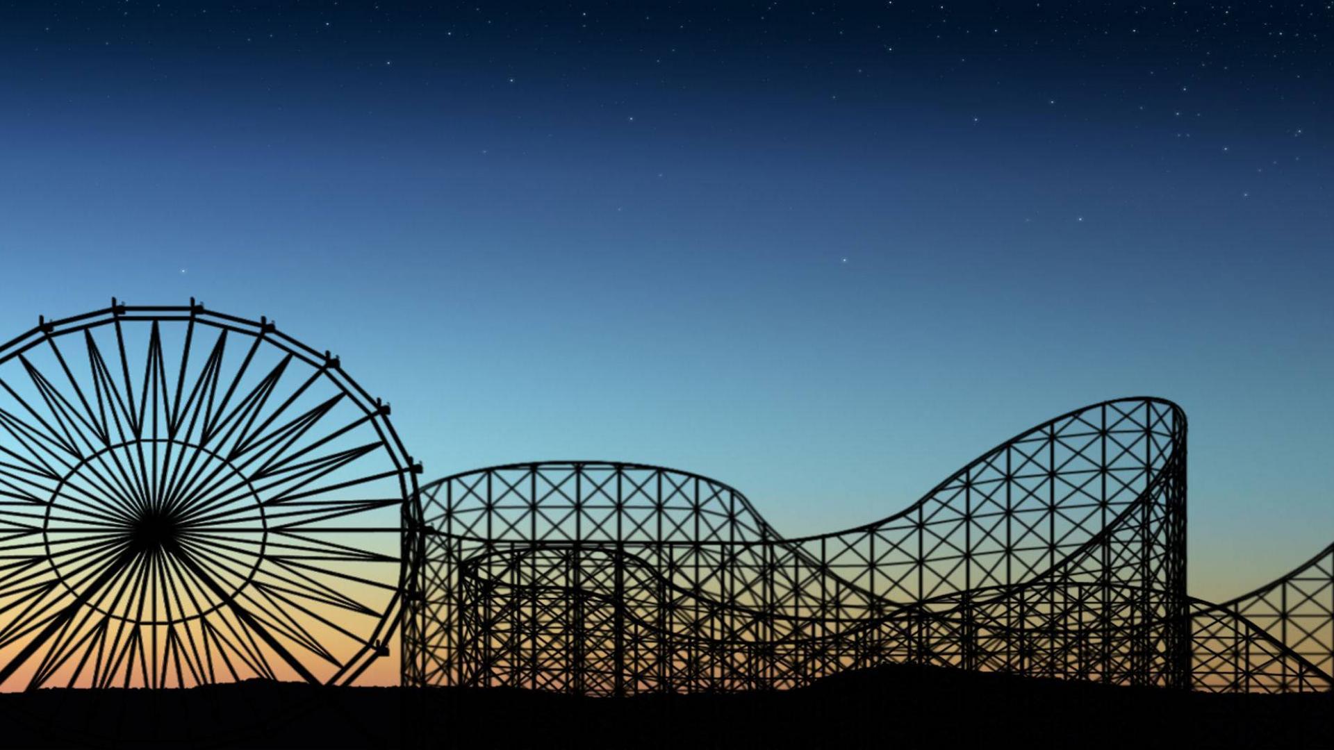 Обои Rollercoaster ride, ночь. Города foto 18