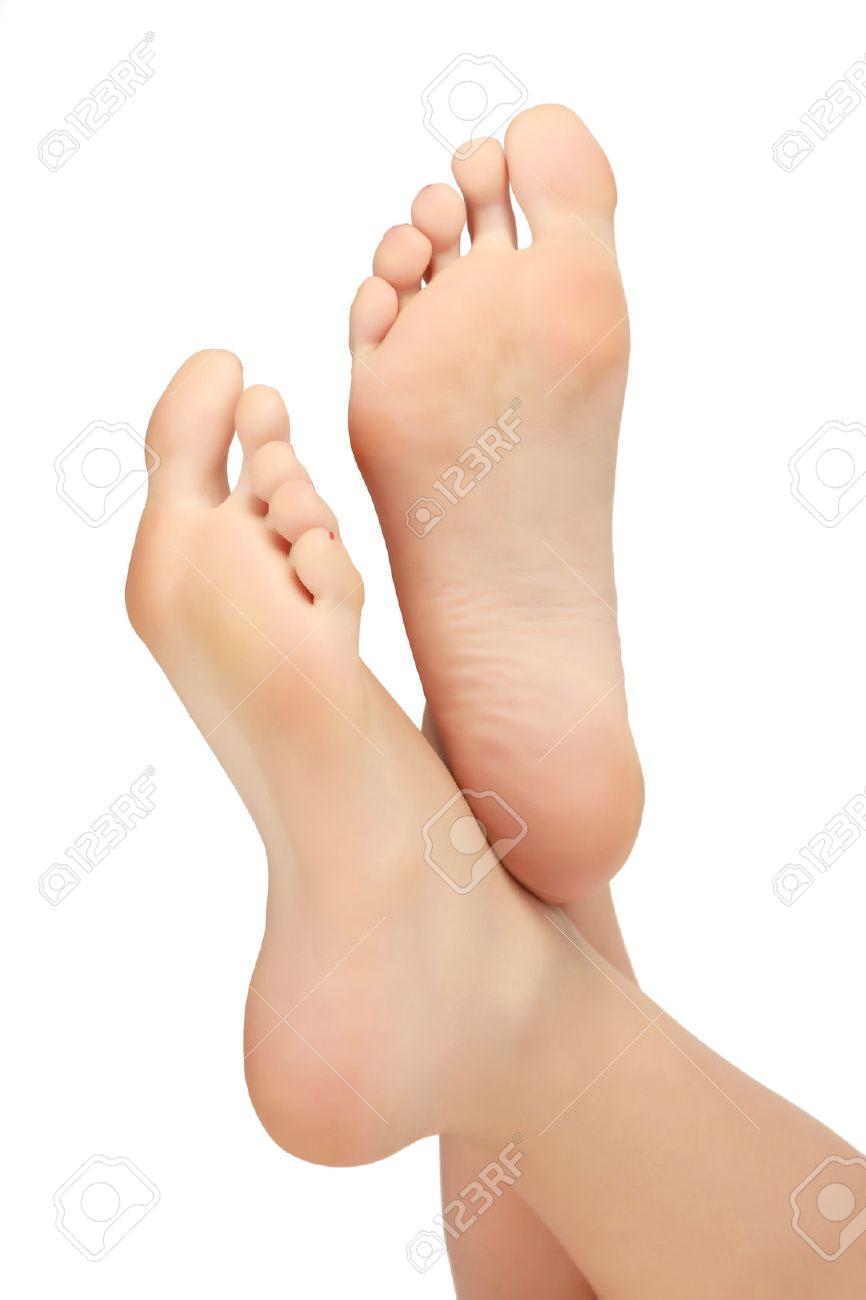 Healthy Female Feet White Background Copyspace Stock Photo 866x1300