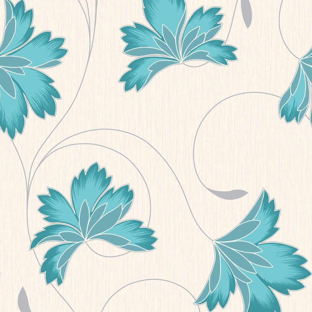 Wallpaper Crown Crown Flourish Wallpaper Azure Blue Cream 1000x1000