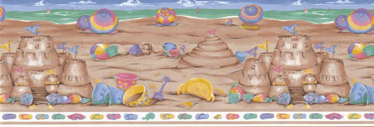 Details about CHILDREN SAND CASTLEBEACH Wallpaper Border LA73582B 770x263