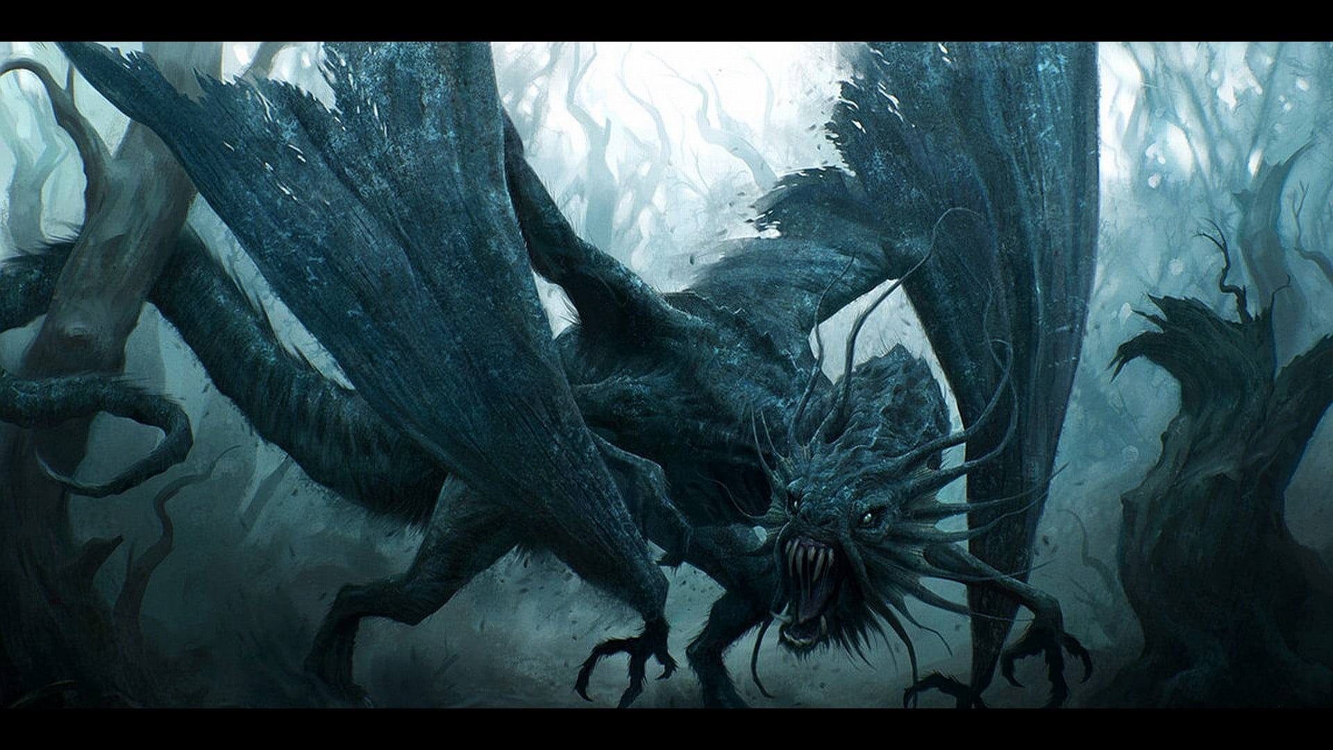 Dragon surrounded by leafless trees digital wallpaper fantasy art 1920x1080