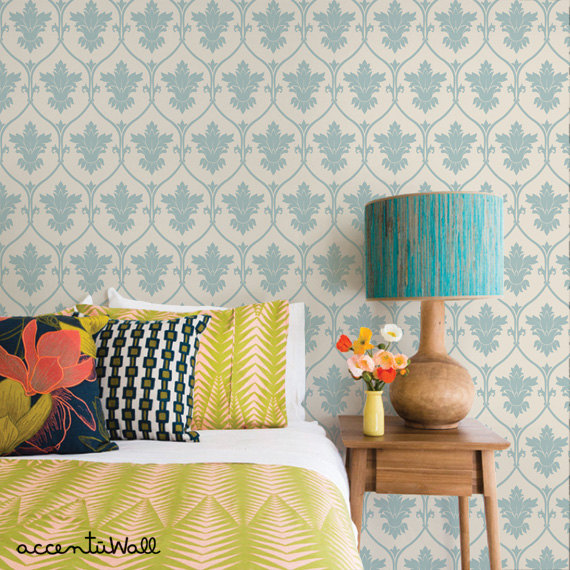 Damask Dusky Blue Peel Stick Fabric Wallpaper Repositionable 570x570